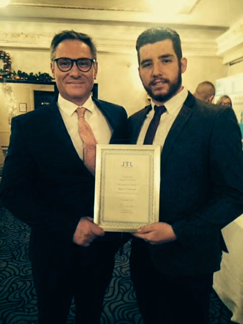 Intelect MD and Dad Fran Cormican with his son Ryan as he wins JTL apprentice of the year at the regional awards.
