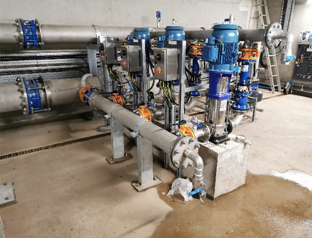 Pumps and Instrument installation within the high lift pumping station.